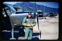 1950's Army Soldier w/ Cessna Aircraft in Korea, Korean War, Original Slide a3b
