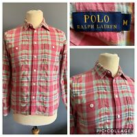 Men's Ralph Lauren Polo Shirt Cotton White/Pink Gingham Check Sz M Long Sleeve