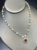 Vintage Delicate Red Crystal Heart Drop Pendant Pearl Rhinestone Necklace 16""