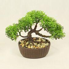 ALBERO Bonsai in vaso ovale, Decorazione pianta artificiale per Ufficio e Casa 14 cm