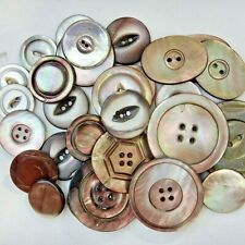 VINTAGE BUTTON LOT of 29 Assorted MOTHER OF PEARL MOP some sew thru & etched