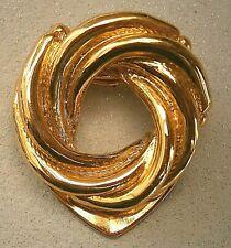 knot wreath circular brooch scarf clip B153*) Vintage gold tone metal Celtic