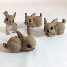 Vintage Brown Bunny Rabbit Ceramic Clay Figurines Bunnies Easter Decor M980