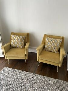 west elm Carlo Arm Chair. Mustard. Two Available. Excellent Condition.