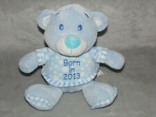 BORN IN 2013 BLUE BEAR SOFT TOY TEDDY COMFORTER DOUDOU WOOLBRO