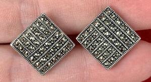 Vintage 925 sterling silver designer Judith Jack Marcasite Square Shape Earrings