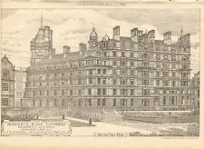 1902  ANTIQUE PRINT- ARCHITECTURE - LONDON - HOLBORN-BIRKBECK BANK CHAMBERS,SE