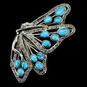 Oval Blue Turquoise 8x5mm Marcasite 925 Sterling Silver Butterfly Brooch