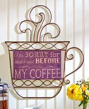 Inspirations Coffee Cup Silhouette Cutout Metal Wall Art Latte Java Espresso Art