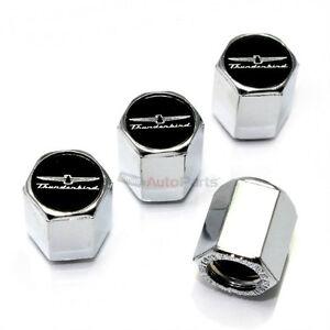 (4) Ford Thunderbird Black Logo Chrome ABS Car Tire/Wheel Stem Valve CAPS Covers