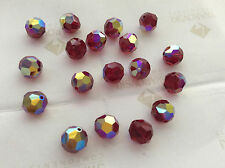 36 Swarovski #5000 6mm Crystal Siam AB Faceted Round Beads