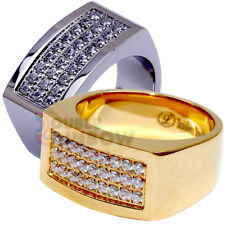 R2 Men's Stainless Steel Gold Silver Hip-Hop 3 rows CZ Bling Ring Size 8-13