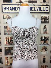 Rare brandy melville cream red Blue floral tie front ribbon sasha tank top NWOT