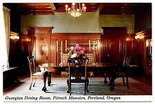 Georgian Dining Room Pittock Mansion Postcard Portland Oregon Table Chairs Vtg