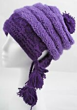 PURPLE HANDMADE IN NEPAL WOOLLEN BEANIE HAT WARM BEANIE [PURPLE]