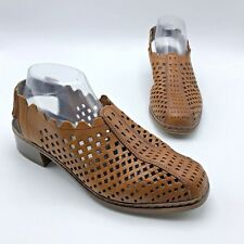 ba7f4b624cab3 Rieker Antistress Women Brown Perforated Leather Slingback Shoe SZ 9.5 Pre  Owned