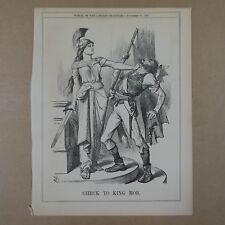 """7x10"""" punch cartoon 1867 CHECK TO KING MOB fenian league"""
