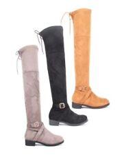 Stivali e stivaletti da donna senza marca piatto (meno di 1,3 cm) in camoscio sintetico