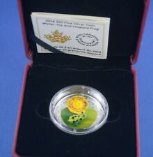 2014  - 1 oz  Water Lily And Leopard  Frog - Maroon Case And Black Sleeve - RCM