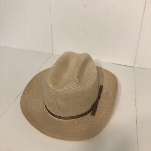 Miller Hats Western Cowboy Straw Hat, Size 7/56, Made in Canada, Tan/Beige