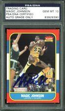 Lakers Magic Johnson Signed Card 1986 Fleer #53 Auto Graded Gem 10! PSA Slabbed
