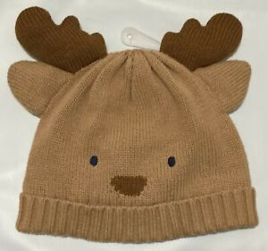GYMBOREE HOLIDAY SHOP REINDEER FACE LINED SWEATER BEANIE HAT 0 6 12 NWT
