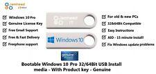 Microsoft Windows 10 Pro Genuine License & 32/64bit USB Boot Installation Media
