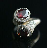 Turkish Handmade Sterling Silver 925 Ruby Ring Ladies Adjustable