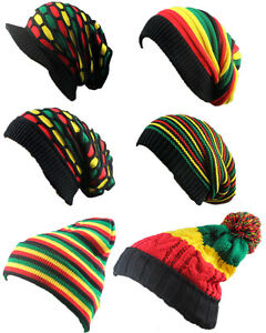Bob Marley Reggae Hat Jamaican Pom Slouch Baggy Beanie Stripe Brim Visor Cap New