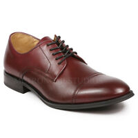La Milano Men's Burgundy Cap Toe Oxford Leather Dress Shoes A11323