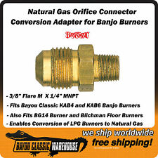 Natural Gas Orifice Connector Conversion Adapter for Bayou Classic Banjo Burner