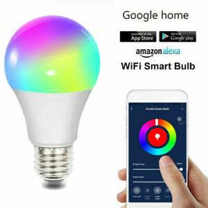 LED Wifi Smart Light Bulb Dimmable RGBW Lamp E27 B22 For iOS Alexa Google Home