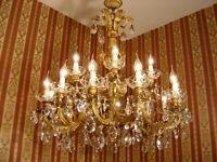 BIG RARE 18 LIGHT CRYSTAL CHANDELIER BRASS SHINY VINTAGE LAMP OLD ANTIQUE LARGE