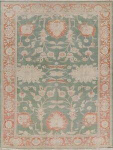 Antique Look Oushak Green/Rust Floral Oriental Area Rug Wool Hand-Knotted 8x10
