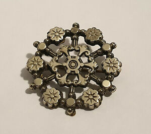 Antique Victorian Sterling Silver Fronted Round Brooch with Flower Design