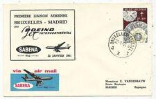 TIMBRE STAMP ZEGEL FDC AVION  SABENA 1er VOL BRUXELLES-MADRID 22-01-1961