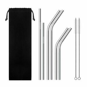 Reusable Metal Straws Stainless Steel Drinks Straws Eco-Friendly Cleaning Brush