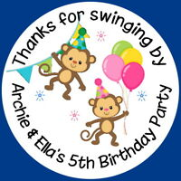 MONKEY'S GIRL & BOY JOINT BIRTHDAY PARTY BAG THANK YOU SWEET CONE STICKERS