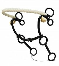 "Showman HACKAMORE with Rope Nose & 5.5"" Sliding Mouth Black Steel Combination"
