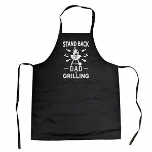 Stand Back Dad Is Grilling Cookout Apron Funny Backyard BBQ Fathers Day Smock