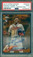 2018 Topps Chrome Update Ronald Acuna Orange Refractor Auto RC Rookie /25 PSA 9