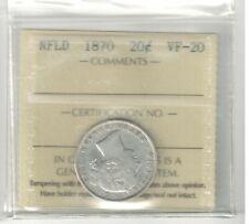 NEWFOUNDLAND 1870 SILVER TWENTY CENTS :  ICCS VF-20  (XXJ 885)
