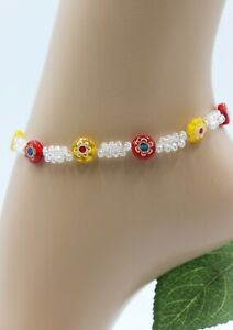 Glass Jewellery XS Stainless Steel Silver Anklet Beads Millefiori Red Yellow #