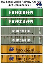HO Scale Containers Mixed 6 X 40ft - Model Railway Building Kit HO40FM1