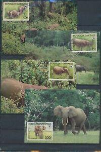 XC59266 Gabon 1988 elephants animals wildlife maxicards used