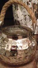 Mango de cuerda de vidrio de mercurio Plata Luz De Té Vintage Sostenedor de Vela Linterna