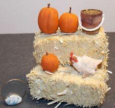 Dollhouse Miniature Farm Chicken Hay Bales Pumpkins F 1:12  H146 Dollys Gallery