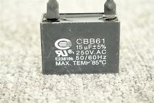 Black CBB61 15uF 2 WIRE 250V AC Ceiling Fan Capacitor UL CERTIFIED