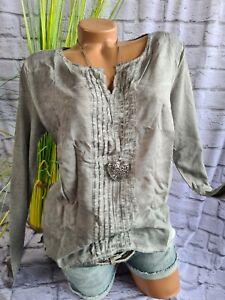 Heine B.C Bluse Shirt Schlupfbluse Gr. 34 bis 46 (919) Oil Wash Optik NEU