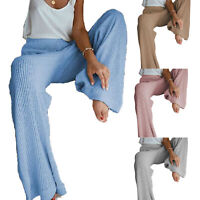 Knitted Pants High Waist Elastic Waistband Trousers Solid Color Wide Leg Autumn